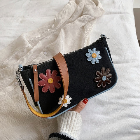 Image of Spring Summer Flower Underarm Bag Canvas