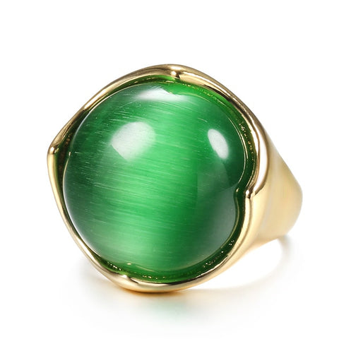 Image of Kinel Ring Gold Color Mosaic Natural Green Opal