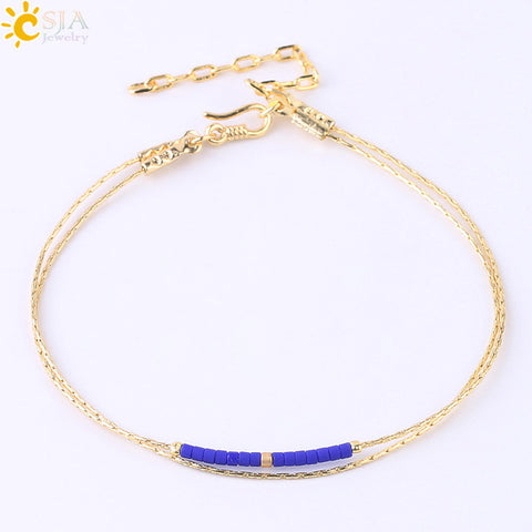 Image of Bracelets for Women Beads Adjustable Bracelet 2 layer Cute Mini Delica