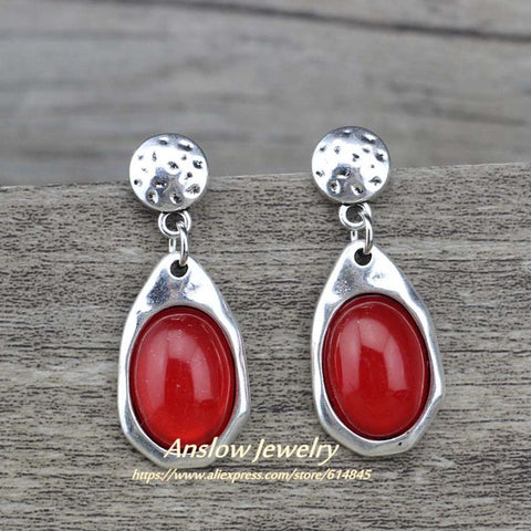 Image of Anslow  Water Drop Antique Silver Plated Earrings