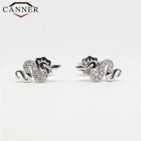 Punk 925 Sterling Silver Small Hoop Earrings for Women Fashion Animal Snake Shaped