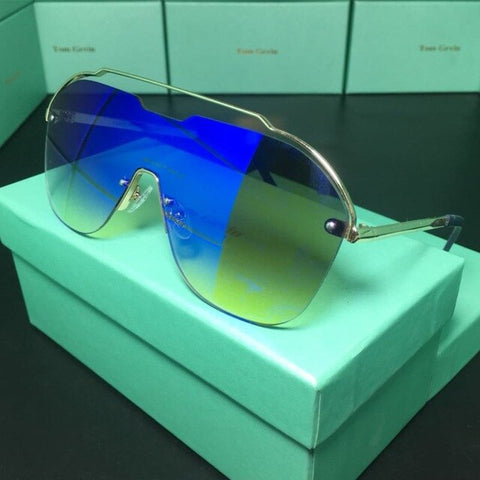 Image of Fashion Oversized Blue Yellow Gradient Sunglasses Women Luxulry Brand