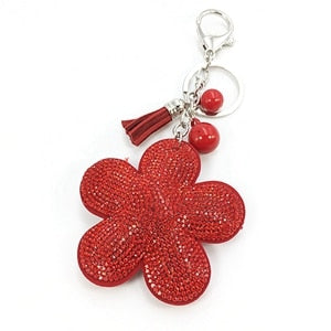 Chain Pompom Holder New Plum Flower Pendant Leather