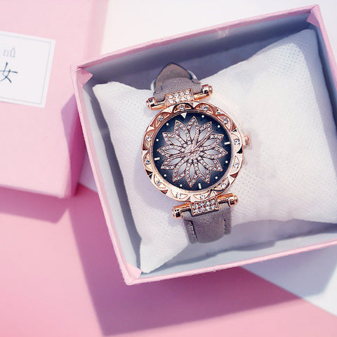 Women Starry Sky Watch Luxury Rose Gold Diamond Watches Ladies Casual Leather Band