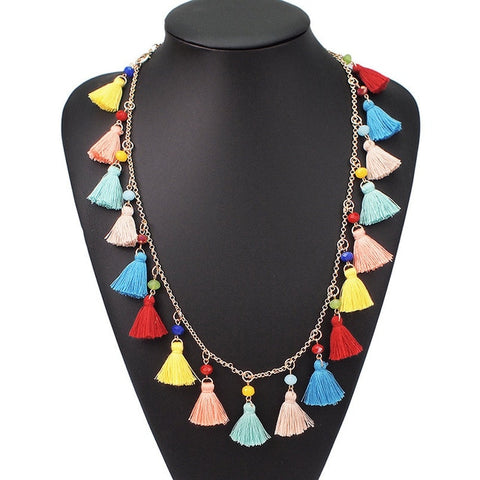 Image of UKEN Bohemian Multicolor Tassel Pendant Necklace