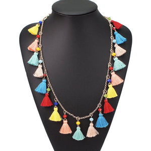 UKEN Bohemian Multicolor Tassel Pendant Necklace