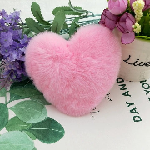 10CM Cute Fluffy Heart Keychains Women's Pom Poms Faux Rex Rabbit Fur