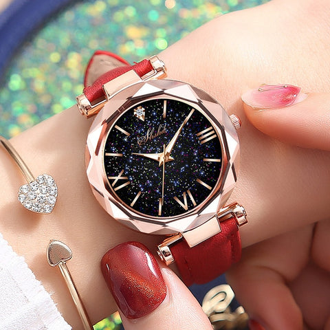 Image of Women Casual Leather Ladies Watch Quartz Wrist Watch Starry Sky