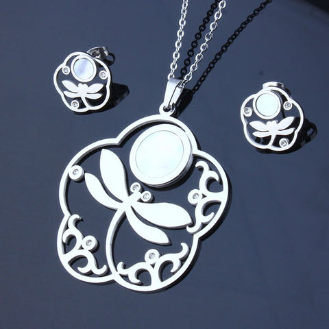 Stainless Steel Dragonfly Jewelry Woman Flower Shell