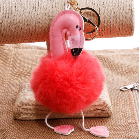 Image of Cute Chaveiro pompom Keychain Flamingo Key Chain Fluffy Fake Rabbit Fur Ball Women Car Bag pompon Key Ring Accessories