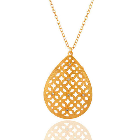 Image of Many Variation Filigree Designer Pendant Necklace Brass Gold Plated