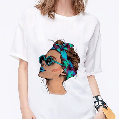 Summer 2019 T shirt Women Harajuku Print Vintage Female Casual Fashion Tshirt