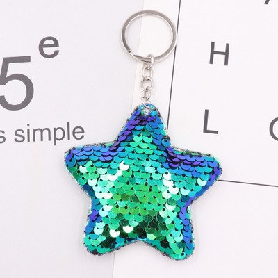 Image of 1PCS Cute Cat Keychain Glitter Pompon Sequins Key Ring