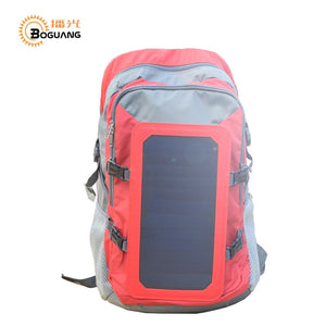 Solar powered backpack including charger with 6w 6v USB polar panel oversize pack, hiking pack charger, Unisex