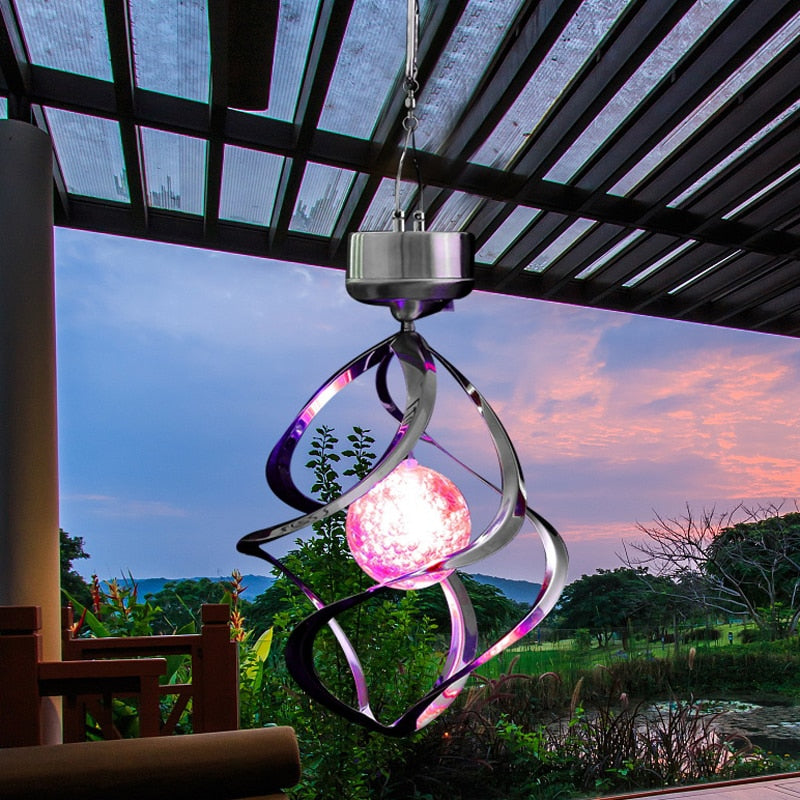 Waterproof RGB LED Solar Power lights Wind Spinner LED Lamp Outdoor Hanging Wind Chime Light for Home Garden Light Decoration