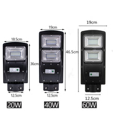 Load image into Gallery viewer, 20/40/60W Outdoor LED IP67+40cmPole Solar Sensor Light Remote Control Street Light Radar Motion 2In1 Constantly Bright&Induction