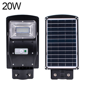 20/40/60W Outdoor LED IP67+40cmPole Solar Sensor Light Remote Control Street Light Radar Motion 2In1 Constantly Bright&Induction