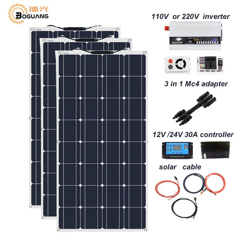Boguang 300w solar panel 12V 24V + 30A controller +110 Volt 220V 1000w Power Inverter Off-Grid 12 Volt Battery System 300 watt