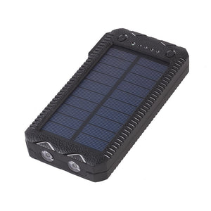 Dual USB Solar Charger Pack Phone Charger Power Bank 2000 mAh External Battery With 2Flashlight For Mobile