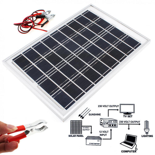 10 Watt Solar Panel Module Battery Charger for recreational vehicles, cars, boats, atv, camping. With 2 Alligator Clips and 1.4m Cable