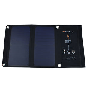 Folding Solar Panel Charger Dual USB Port Controller Pack 15W/5V/2.5A Frosted Waterproof and Portable