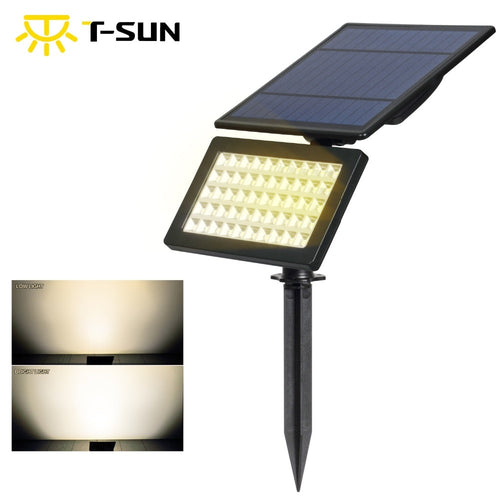 T-SUN 50 LED 3500K Warm White 5W Solar Garden Light 2 Modes Outdoor Adjustable & Auto ON/OFF Security Lighting for Yard Garden