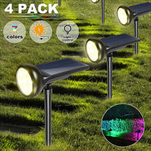 Load image into Gallery viewer, RGB Solar Landscape Spotlight Pathway Outdoor Garden Waterproof Auto On/off Wireless Sun Power Landscape Lighting Color Changing