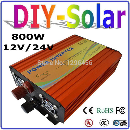 New 800W Solar Wind Power Inverter 12V 24V DC TO AC 220V 110V Pure Sine Wave Output Solar/Wind/Car Home Use Power Inverter 800W