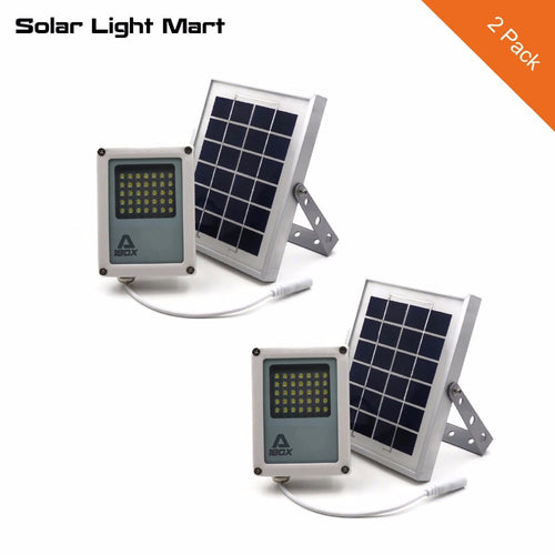 Solar Light Mart 2 Pack-Mini Alpha 180X Waterproof Outdoor Automatic Solar LED Flood Light with 3 Power Modes for Garden Yard