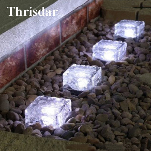 Thrisdar 3PCS Solar Underground Buried lamp Glass Ice Brick Outdoor Garden Landscape Pathway Deck Light Solar Security Light