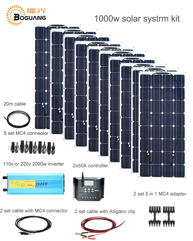 Boguang 1000w Solar System Kit 10*100W solar panel module 50A controller 2000w inverter adapter connector battery power charge