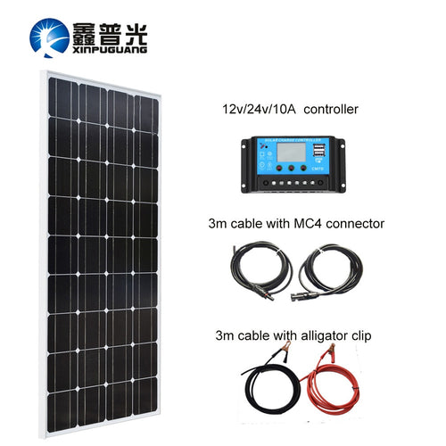 Xinpuguang 100W 18V Solar Panel System Module Mono Silicon Cell for 12V Battery Power Charger 10A USB Controller MC4 Connector