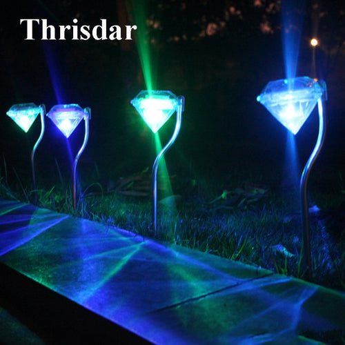 Thrisdar 4PCS Solar Garden Lawn Spike Lamps Diamond Solar Stake Light Landscape Garden Pathway Patio Light Grounding Sun Light