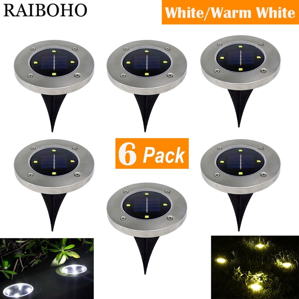 6PCS Solar Powered Ground Lights 4LED Solar Path Lights Outdoor Waterproof Garden Landscape Lighting for Yard Driveway Lawn