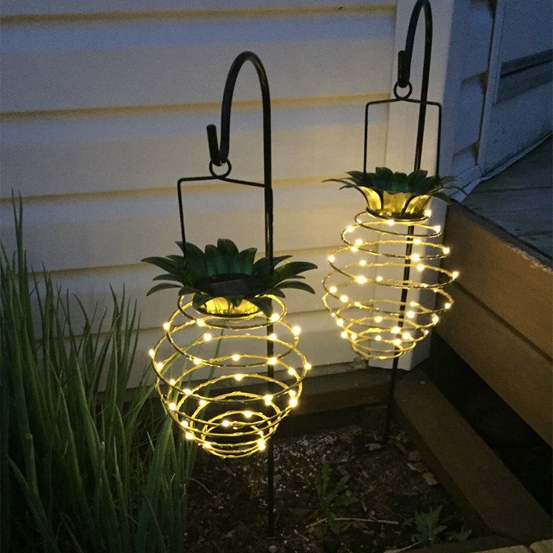 Solar Garden Lights Pineapple Shape Outdoor Solar Hanging Light Waterproof Wall Lamp Fairy Night Lights Iron Wire Art Home Decor