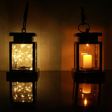 Load image into Gallery viewer, Outdoor Garden Solar Powered Hanging LED String Lights Flickering Candle Lantern Lamp For Garden Decorative 100% Solar Power