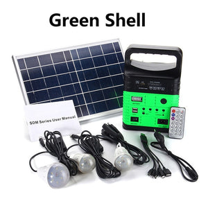 Portable Solar Generator Outdoor Power Mini DC6W Solar Panel 6V-9Ah Lead-acid Battery Charging LED Lighting System