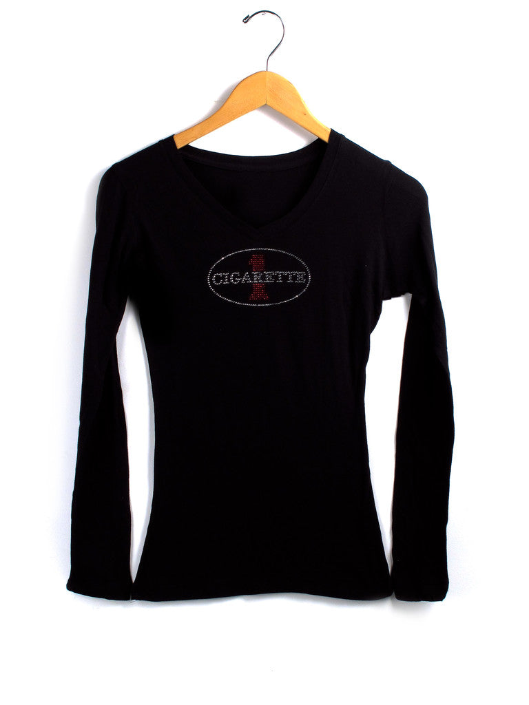 Long Sleeve Jewel V-neck