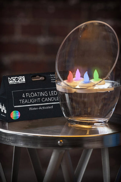 Water-Activated LED Floating Multi-Color Candles, Pack of Four