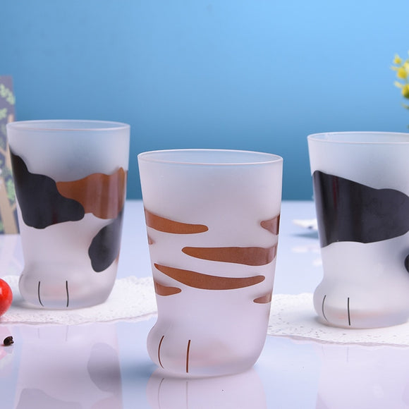 350ml Mug Heat-resistant Glass Cat Cup Tiger Paws Office Matte Cat Paws Creative Milk Coffee Cup Cute Children Drink Bottle