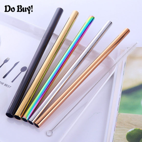 2pcs Reusable Juice Drinking Straw Dia 10mm 12mm Metal Smoothies Tapioca Pearls Milk Tea Straws with 1 Cleaner brush