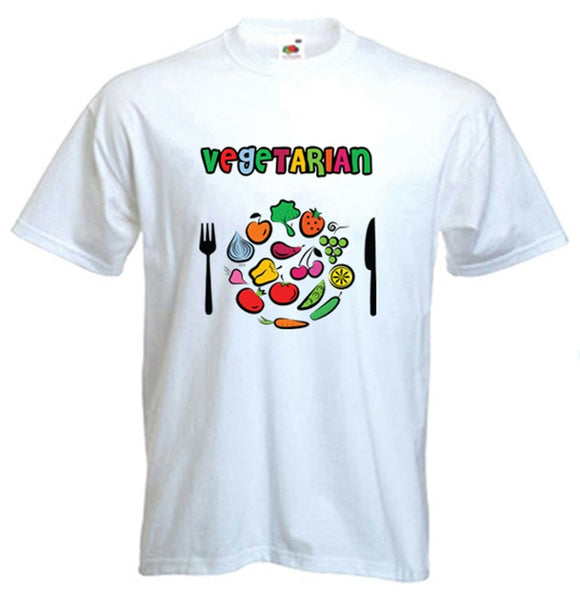 Vegetarian Plate Logo T-Shirt - Vegan Veggie Animal Rights - Choice of Colours 2019 Fashion Brand Men'S Tops Street Wear T-Shirt