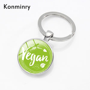 Classic Green Drawing Vegan Keyrings Apple Fruit Be Healthy Design Glass Dome KeyChains Holder For Vegetarian Gifts