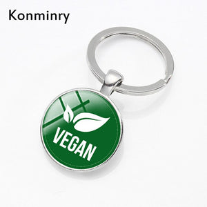 Konminry Fashion 100% Vegan Logo Keyrings Handmade Round Glass Pendant Key Chains Holder Women Men Vegetarian Gift Keychains