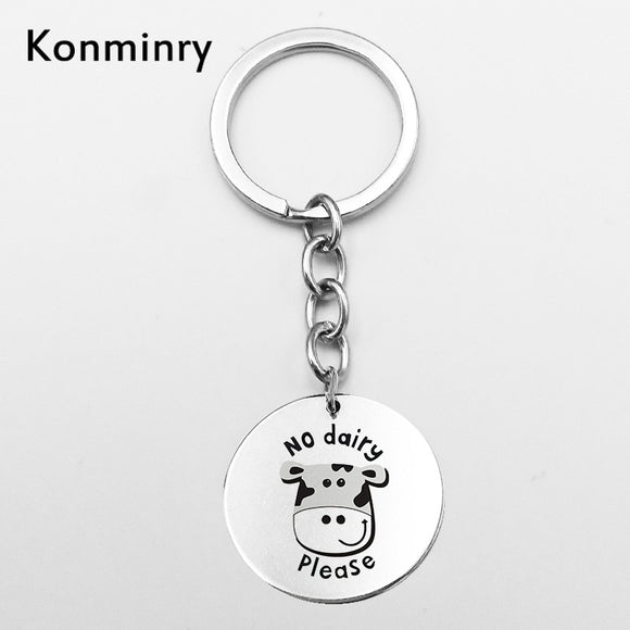 Cute Vegan Sign Cow Rabbit Stainless Steel Key Chains Leaves Vegetarian Gifts Jewelry Round Shape Pendant Keyring Konminry