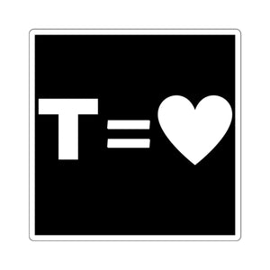 T = Heart Square Stickers
