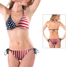Load image into Gallery viewer, Women's Bikini Swimsuit w/ Stars Stripes American Flag