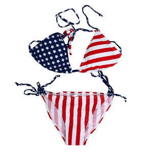 Women's Bikini Swimsuit w/ Stars Stripes American Flag