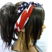 Load image into Gallery viewer, USA Flag Bandana Hair Band - American Stars and Stripes