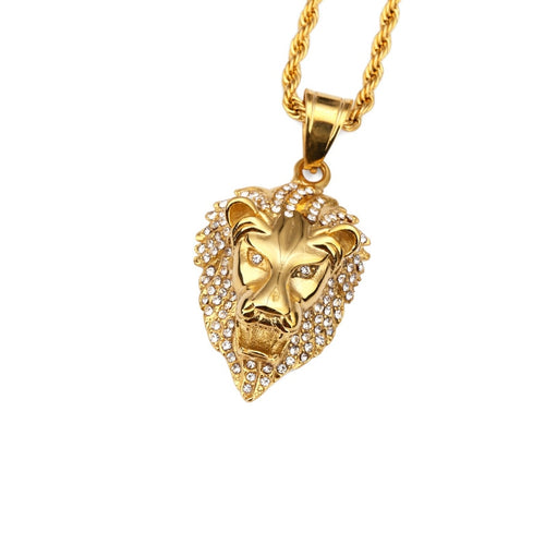 MAGA Bling Lion Head Pendant Necklace